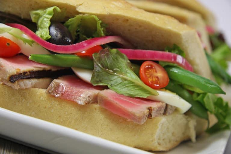 ahi tuna and vegetable baguette, pro athlete food service options