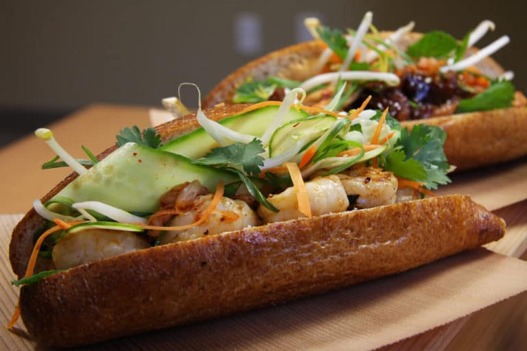shrimp and veggies banh mi sandwich