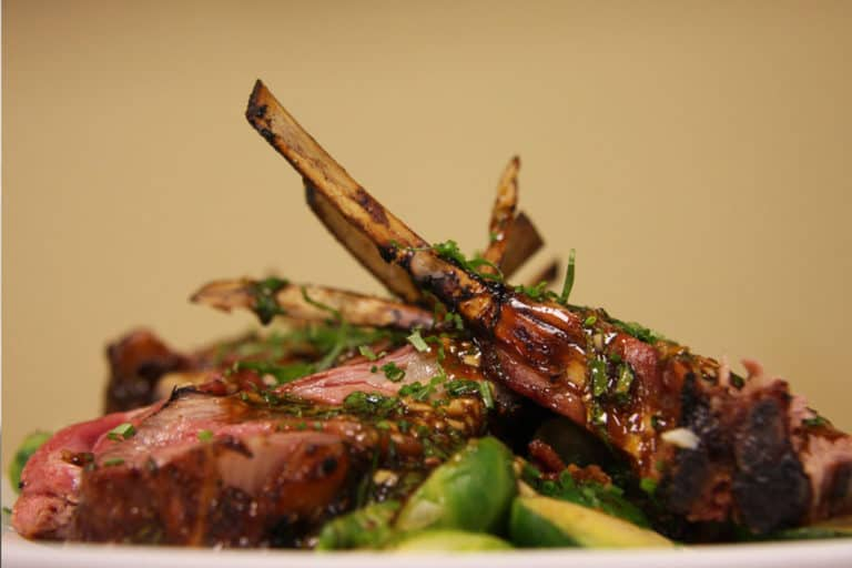 lamb chops with brussels sprouts, pro athlete food service