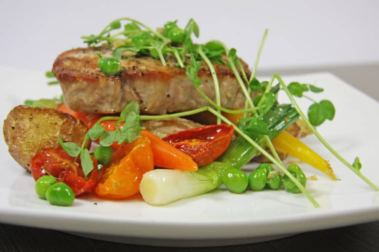 pork tenderloin with seasonal vegetables