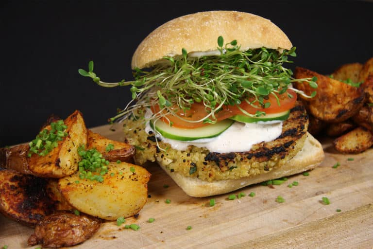 whole grain vegetarian burger with seasoned house-made potato wedges, athletic nutrition