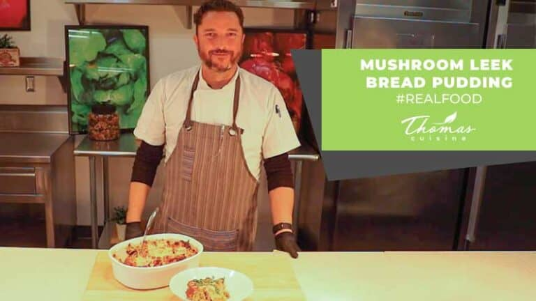 mushroom leek bread pudding thomas cuisine