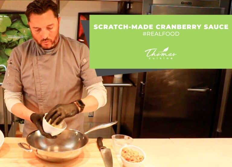 from scratch cranberry sauce, foodservice chef